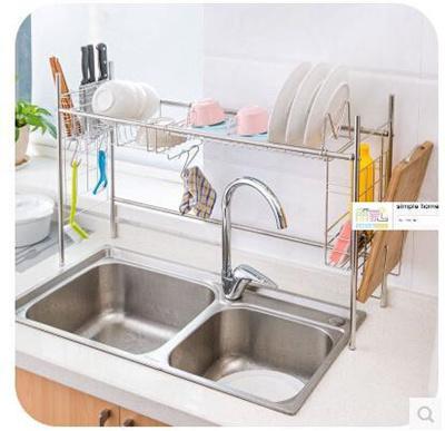 Kitchen With Stainless Steel Kitchen Sink Dish Rack Shelf To Put Dishes Drain Rack Dish Rack Storage