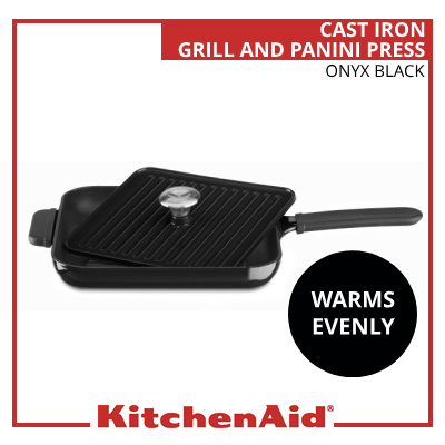 7d072ade1c5 Cast Iron Grill and Panini Press Cookware - Onyx Black  KCI10GPOB