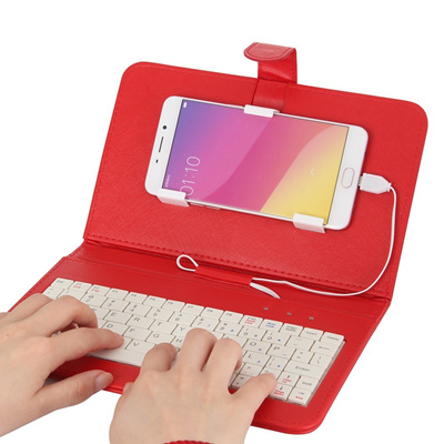 KKmoon 4 2-6 8 Inches Android Micro 5-Pin Wired QWERTY Keyboard Case Phone  Stand for Huawei Xiaomi H