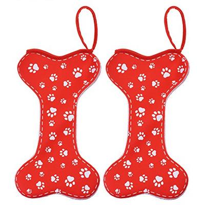 Dog Bone Christmas Stocking.Kloud City Pack Of 2 Neoprene Dog Bone Christmas Stocking Holder Pet Gift Bag 16 Paw Print Handmade