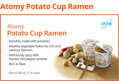 [atomy]Korea Atomy Potato Cup Ramen *1box(18 Cups) Fiber-Rich Noodles made  with potato starch