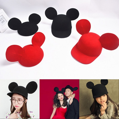 ce519ad3f5c Korea cute Mickey Mouse ear Hat Mickey Mouse Hat Vivian wool lovers fun  paragraphs tide