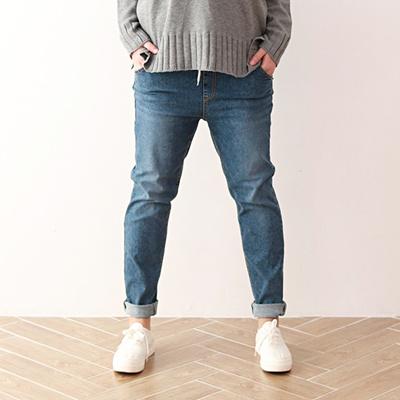Korea Jeans Pants Basic Span Blue Semi Exhaust Pan