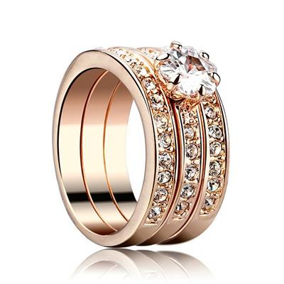 Qoo10 Korean Fashion Three Ring Set Diamond Ring Can Be Worn