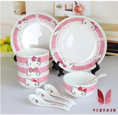 Korean home ceramic tableware set bowl spoon dish original design Hello Kitty cartoon cute gift & Qoo10 - Korean home ceramic tableware set bowl spoon dish original ...