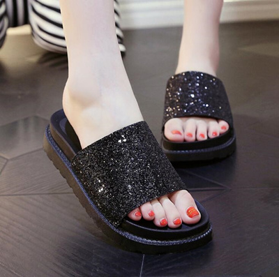 7abe6042aa6c Qoo10 - Korean rhinestones glitter cool in Lady s slippers shoes   Men s  Bags   Shoes