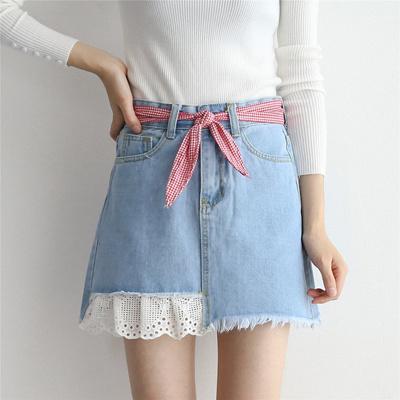 c231e06170c40 Qoo10 - Korean style high waist strap stitching lace skirt Jean half skirt  fem...   Women s Clothing