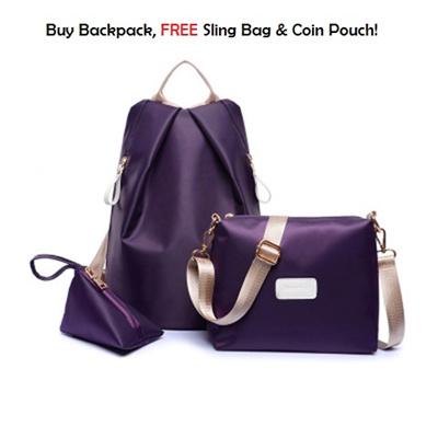 d5473afd38cd Qoo10 - Korean Style Woman Waterproof Nylon Backpack 3-In-1 Set   Bag    Wallet