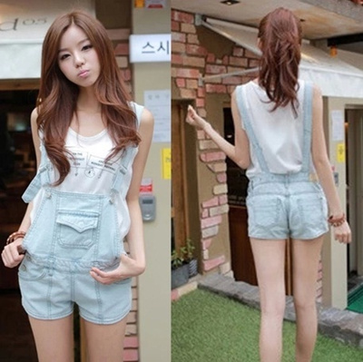 qoo10 denim jumper shorts women�s clothing