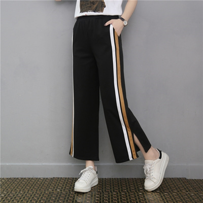 6e67a44cdc03 Korean version nine high waist side striped broad leg pants female summer  leisure loose seven points