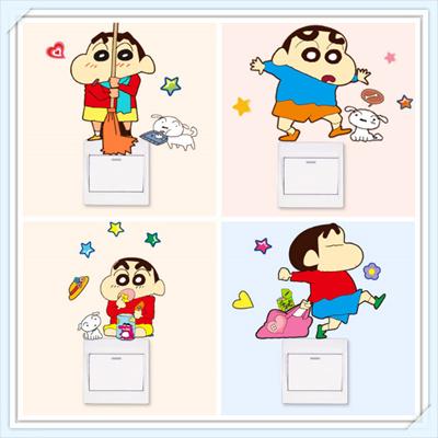 Labixiaoxin Crayon Shin Chan Theme Home Decor Sticker Cute Wall Switch Decal Kitchen Living Study Room