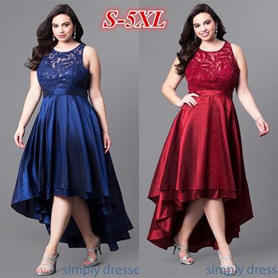 5b5e72dc02 Qoo10 - Lace High-Low Sleeveless Semi-Formal Party Dress Plus Size ...