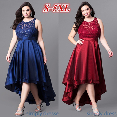 Qoo10 Lace High Low Sleeveless Semi Formal Party Dress Plus Size