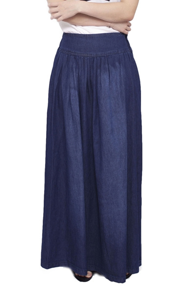 2c3b0eb1672 Qoo10 - Plain Denim Maxi Skirt - Dark Blue   Women s Clothing