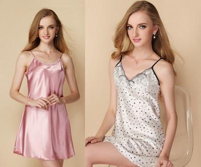 1979893c57 Qoo10 - Lady silk feel Sleep Dress lingerie sleeping wear sexy   Underwear    Socks