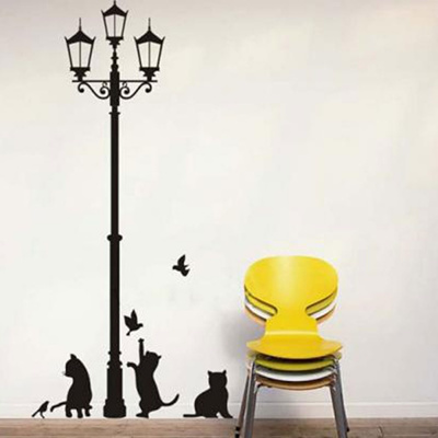 qoo10 - lamp cats adhesive wall decor mural stickers black : kitchen
