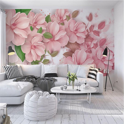 Large Photo Wallpapers For Walls 3d Murals Pink Flowers Wallpapers Green Leaf Wall Papers Living Ro