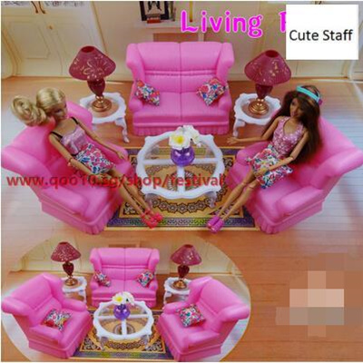Large Pink Barbie Dream Living Room Sofa Furniture Accessories Home Fashion  Toy Play Houseu2014WWJJWJ_cu