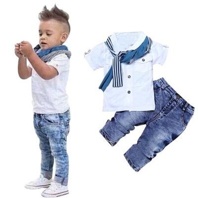 Qoo10 - Latest 1Set Kids Baby Boys Short Sleeve T-Shirt Tops+Scarf+Trousers  Cl...   Women s Clothing 8e2cc303b2