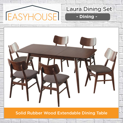 Laura Dining Set Solid Rubber Wood Extendable Table