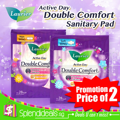 [Promotion 2 Packs] LAURIER Double Comfort Active Day Sanitary Pad 28s - Soft Wing