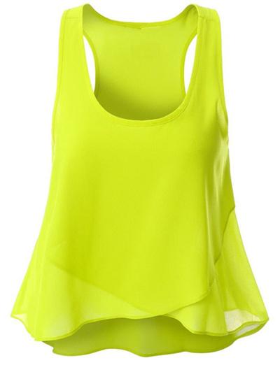 d1f299cfb1410 Qoo10 - Layered Asymmetric Chiffon Tank Top - Yellow   Women s Clothing