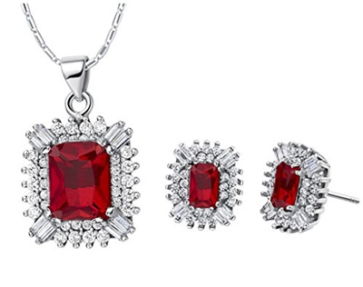 Layla Jewellery 18k White Gold Plated Alloy Swarovski Elements Crystal Jewelry Set include Pendant Necklace and Stud Earrings for Ladies oOUdg