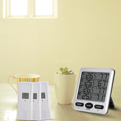 LCD Digital 433MHz Wireless 8-Channel Indoor Outdoor Thermometer with Three  Remote Sensors Thermomet