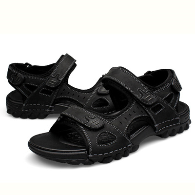 586b0f6eb1a7 Qoo10 - Leather Men Sandals   Men s Bags   Shoes