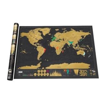 Leegoal Novelty World Map Educational Scratch Off Map Poster TravelMap Wall Map - Black