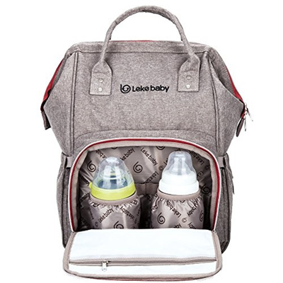 Leke Large Baby Backpack Diaper Bag For Mom And Dad Grey
