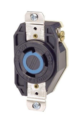 Leviton 2620 30 Amp, 250 Volt, Flush Mounting Locking Receptacle,  Industrial Grade, Grounding, V-0-M