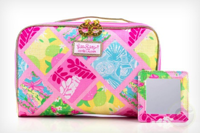 Lilly Pulitzer Cosmetic Bag In Patch Matching Mirror Estee Lauder Gift