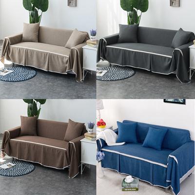 Linen Sofa Cover Non-slip Slipcover Pure Color Home Decoration