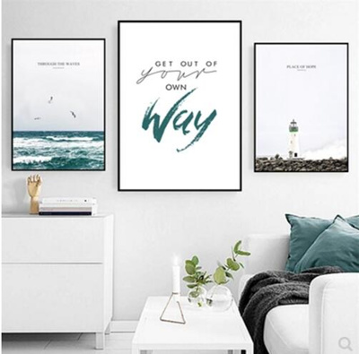 Living Room Decoration Painting Nordic Simple Wave English Lighthouse Small  Fresh Blue Scenery