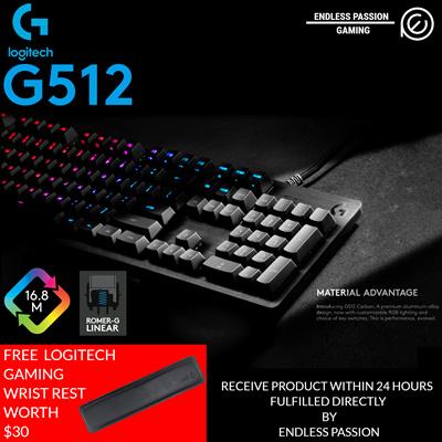 LogitechLogitech G512 RGB Backlit Mechanical Gaming Keyboard with Romer-G  Linear Switch