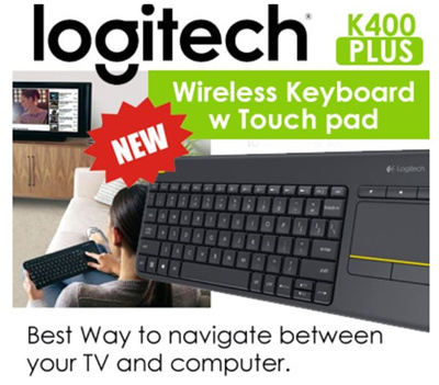 LogitechORIGINAL Logitech K400 PlUS Wireless Touch Keyboard KB Comes with  touchpad mouse combo K400plus Sing