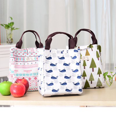 Long Canvas Lunch Bag Portable Large Insulated Bags Box Tote