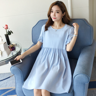 a37ed8343c528 Qoo10 - Long summer new 2017 Korean fashion dresses for pregnant women  pregnan...   Baby   Maternity