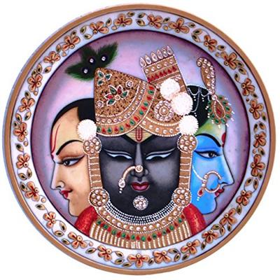 Lord Vishnu Lord Shrinath and Lord Krishna all three Hindu Religious god  painting on marble round P