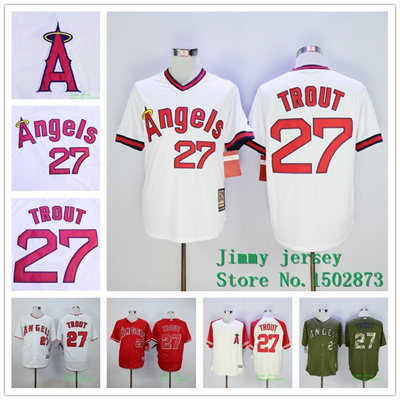 free shipping c5195 96434 Los Angeles Angels Mike Trout Throwback Jerseys, Los Angeles Angels 27 Mike  Trout Jersey White Gre
