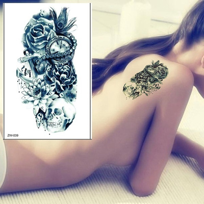 4e7be82068b8f Lotus skull anchor peacock feather clock rose temporary tattoo sticker  waterproof tattoo paper fake transfer tattoo