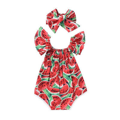 f152c07f0e8c Qoo10 - Lovely Newborn Baby Girls Romper Watermelon Clothes Jumpsuit  Bodysuit ...   Kids Fashion