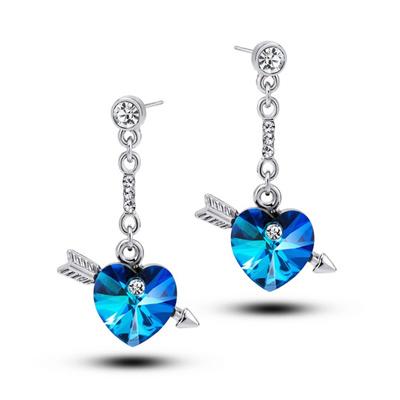 Lovely Simple Women Arrow Through Heart Blue Crystal Ear Drop Earrings Jewelry 1 Pair Safe Hot I