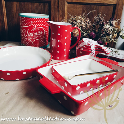 Red And White Polka Dots Ovenware Bakeware Baking Dishes Pitcher Utensils Holder Collection