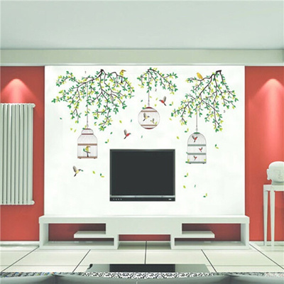 qoo10 - lowest price lively green tree amp bird removable decal home