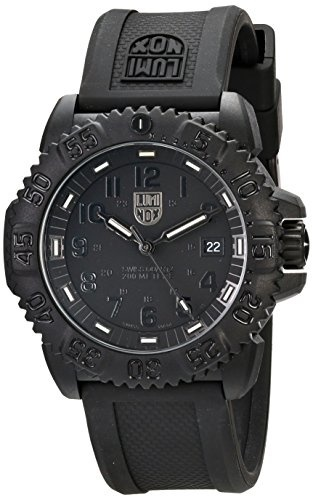 Luminox Men S 3051 Bo Navy Seal Colormark 3050 Series All Black With Rubber Band Watch