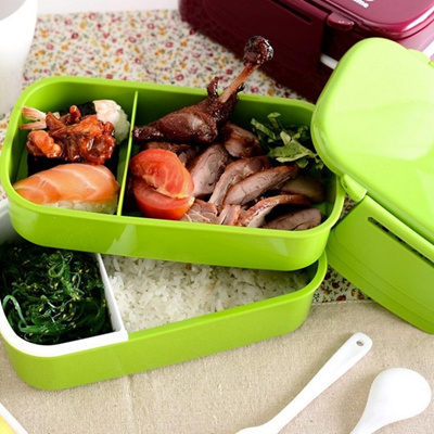 fcdd6fe7a35e Lunch Time Japan style Double Tier Bento Lunch Box 4 Color Large Meal Box  Tableware Microwave Dinnerware Setnew arrival