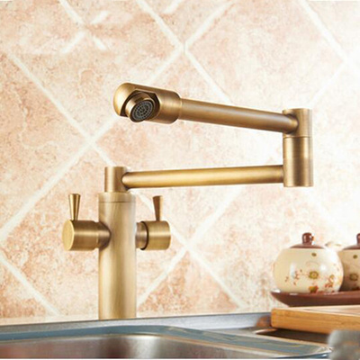 Luxury Antique Brass Kitchen Faucet Extent Spout Vessel Sink Mixer Tap Brass Tap