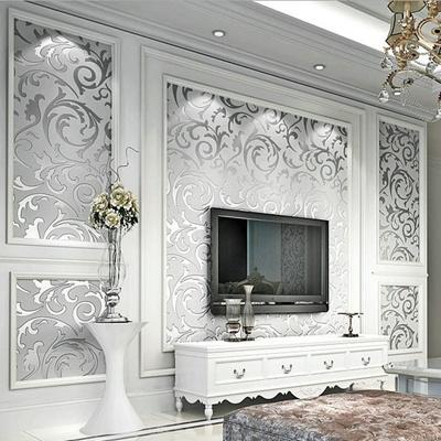 Luxury European Modern Wallpaper Non Woven Mural Wallpapers Roll Silver Golden Living Room Sofa Tv B